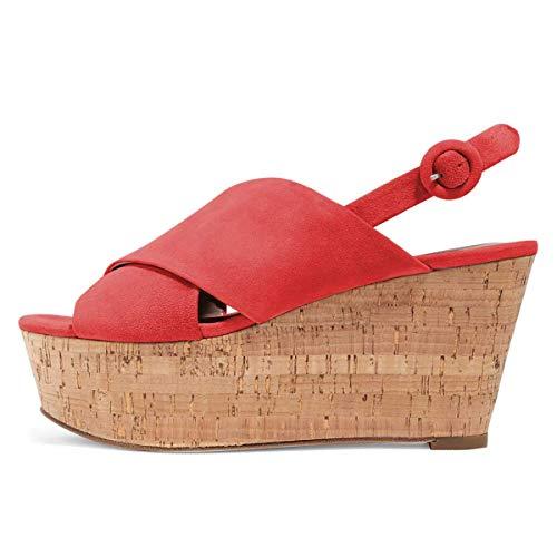 FSJ Women Peep Toe Platform Wedge Cork High Heel Slingback Sandals Suede Summer Vacation Pumps Size 15 Red