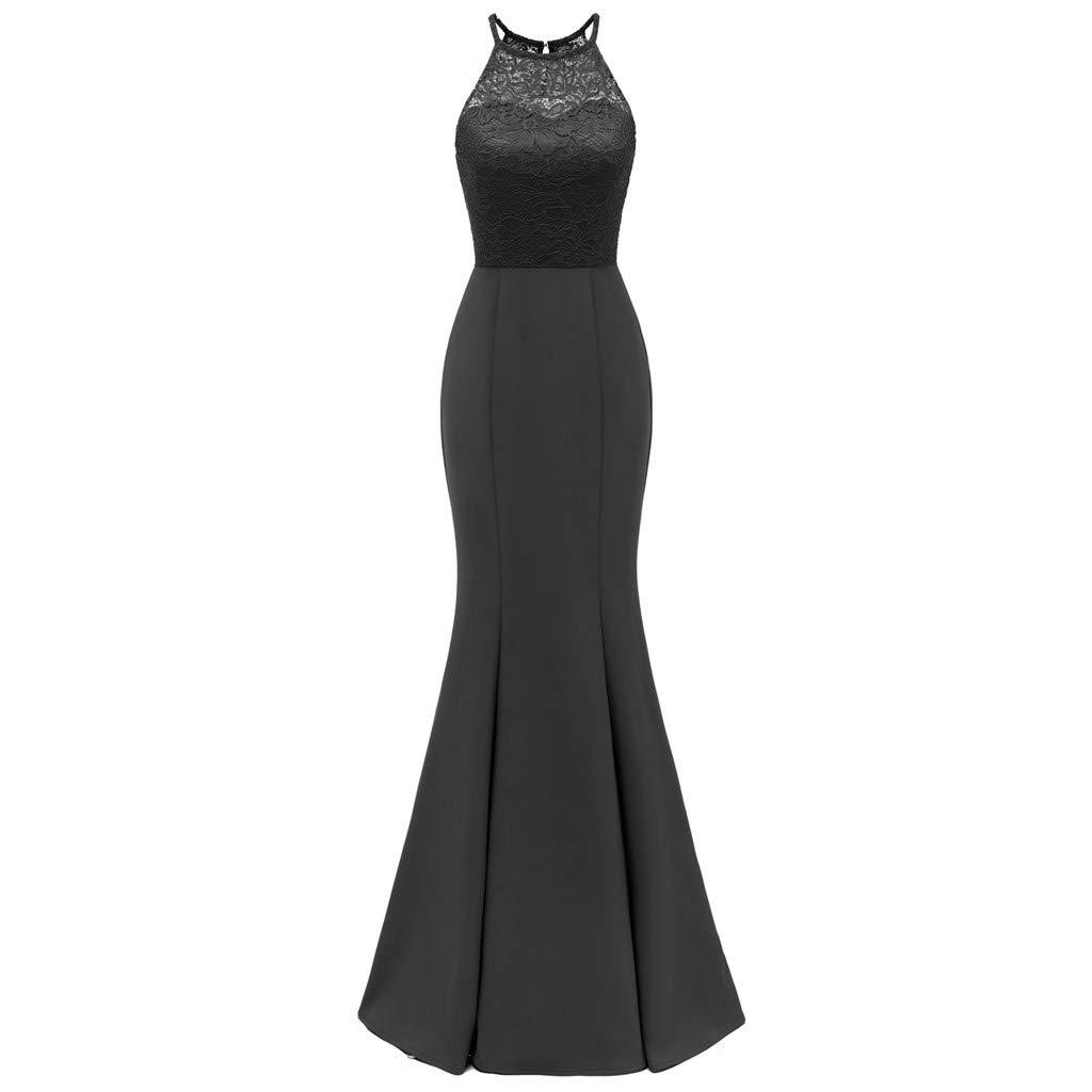 Women's Vintage Off Shoulder Floral Lace Evening Cocktail Maxi Dress Halter Vintage Wedding Mermaid Maxi Long Dress Black