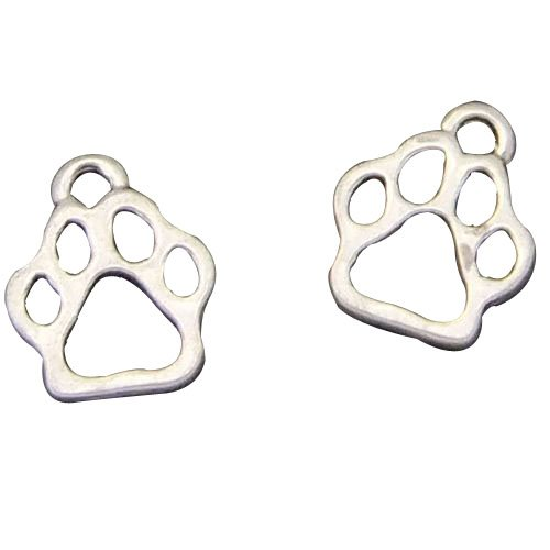 Antiqued Silver Cat Paw Foot Prints Charms Pendants for Jewelry Making DIY (Wholesale Dog Charms)