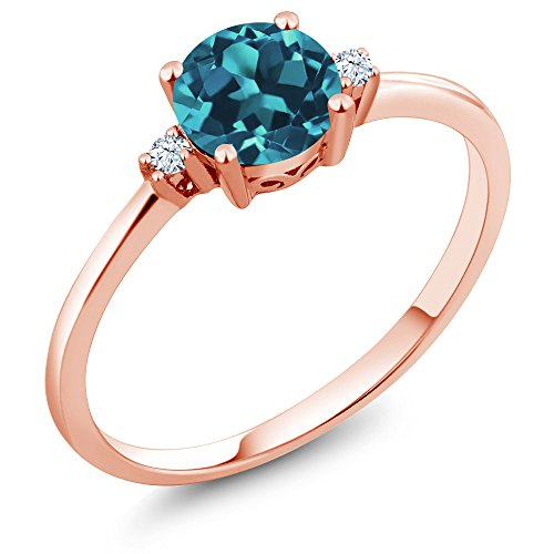 10K Rose Gold 0.78 Ct Round London Blue Topaz White Created Sapphire (Gem 10k Ring)