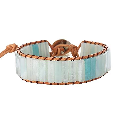 IUNIQUEEN Boho Handmade Mutilayer Natural Stone Statment Bead Wrap Wrist Bracelet Jewellery ... (Amazonite)