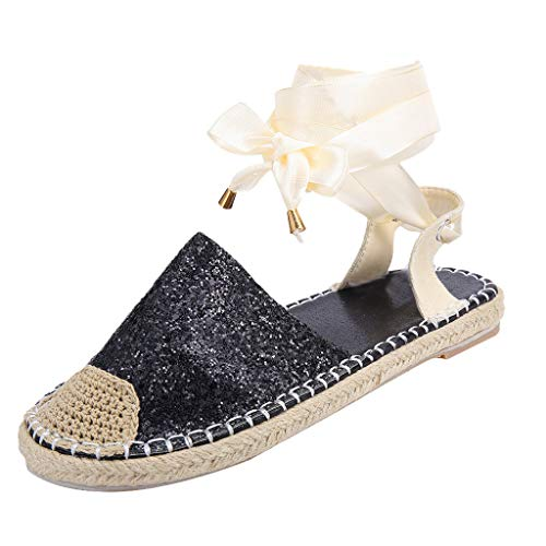 Women Straw Round Toe Flat Casual Sequin Shoes Lace Up Cross Strap Ankle Wrap Summer Beach Espadrille -