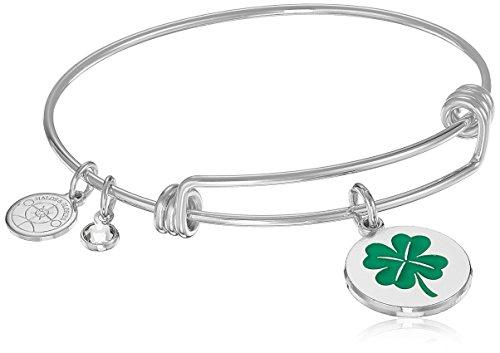 (Halos & Glories, 4 Leaf Clover Shiny Silver Bangle Bracelet )