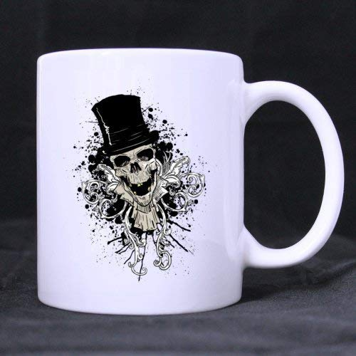 Classic Fashion Cool Halloween Skull Dancing (Twin Side) Custom White Ceramic Mug Coffee Cup (11 Ounce) for $<!--$11.99-->