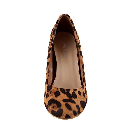 Nine Pump Bella 5 Marie Wedge Womens On Mid Shoes Leopard Toe Slip Classic Almond ZwUwa