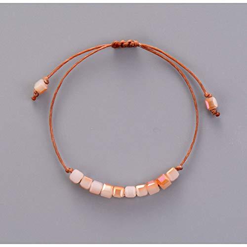 MMYUSL Bracelet Simple Bracelet Handmade Boho Half Plating Square Crystal Bracelet Birthday Gift Jewelry Friendship Bead Bracelet -