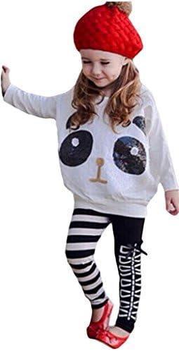 (ウォ2U)Woo2u 赤ちゃん キッズ 女の子 子供服 春秋 白色 可愛い スパンコール パンダ 蝶結び カジュアル ズボン トレーナースウェット ジャージ シャツ ロング丈パンツ レギパン 上着 上下セット