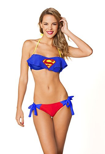 Dc Comics Super Girl Superman Cami Bandeau Side Tie Bottom Bikini Set S