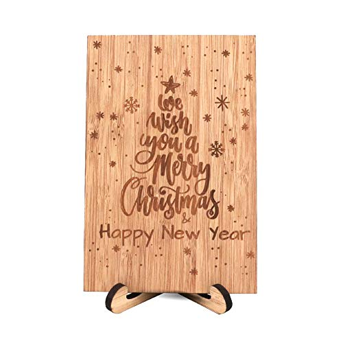 Zuaart Christmas Tree Greeting Card Handmade With Real Bamboo Wood and Stand - We wish you a merry Christmas & happy new year - Xmas Or Season`s To Husband, Wife, Parents, Her, Him And Friends (Christmas To Merry Husband)