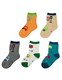 KF Baby Toddler Boy Soft Cotton Socks Value Pack, 5 pairs, Babies to Toddlers