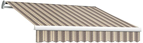Awntech 16-Feet MAUI-LX Right Motor with Remote Retractable Acrylic Awning, 120-Inch Projection, Taupe Multicolored (Right Motor Retractable Awning)