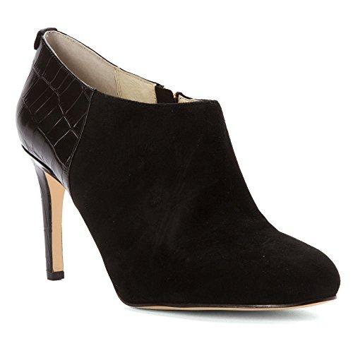 Black Croco High Heel (Michael Kors Womens Sammy Ankle Boot Leather Almond, Black Suede/Croco, Size 5.5)