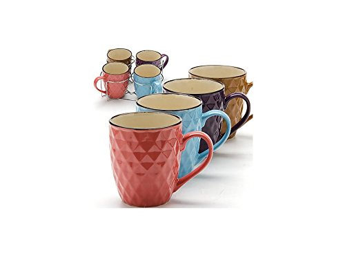 5 Piece Ceramic Mug Set, 4 Mugs and Metal Holder