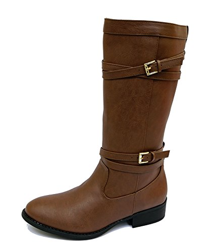 Ladies Flat Brown Knee High Tall Zip-Up Calf Warm Winter Riding Boots Shoes Sizes 3-6