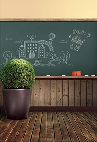 CSFOTO 3x5ft Background for Back to School Classroom Photography Backdrop Chalkboard Hand Draw Graffiti Childish Wood Floor Homecoming Student Child Portrait Photo Studio Props Polyester (5' Chalkboard Eraser)