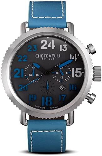 Chotovelli Men s Pro-Aviation Chronograph Watch Sapphire Italian Leather Strap 7200