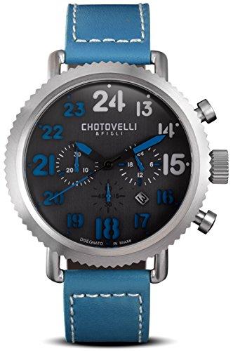 Chotovelli Vintage Pilot Watch- Chronograph Display,Sapphire Crystal, Italian Leather Strap 72.12
