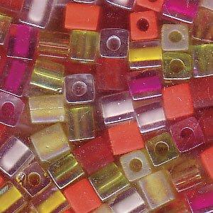 Miyuki 4mm Glass Cube Beads Color Mix Tango Tropical 10 - Numbers Measurement Glasses