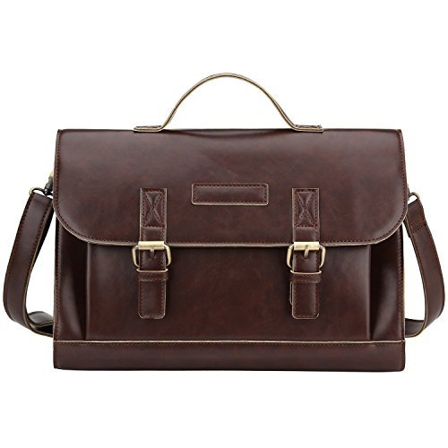 Bagerly Mens Vintage Leather Messenger Cross Body Shoulder Bag Briefcase (Halo Messenger Bag)