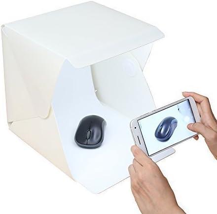 Gleading 24x23x22.6 cm Kit de Tienda Mini Cubo Estudio Foto Difusor Luz Suave Iluminación Caja de Fotografía, con 2 Telones de Fondo (Negro Blanco) para Estudio Foto Video y Fotografía