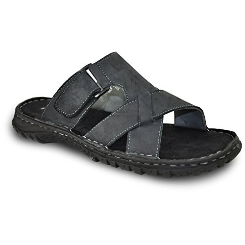 Kozi Men Leather Sandal New DIEGO-01 Open Toe With Strappy Details Black 9.5M