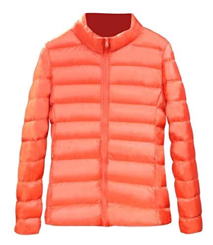 Sleeve Lightweight Long Pocket Down Zip Womens Stand Orange Skinny Collar Coat up Mogogo qBYXzwx