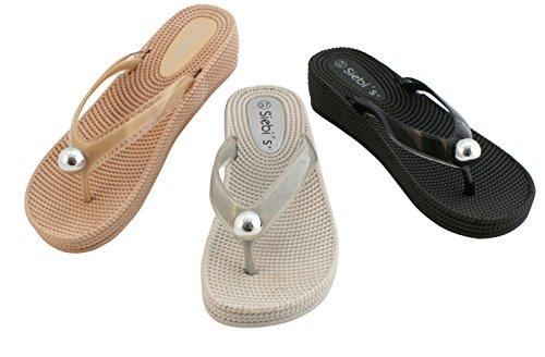Siebis Ronda Flip Modischer Zehentrenner Damen in Flechtoptik mit Absatz: Größe: 39 EU   Farbe: Grau