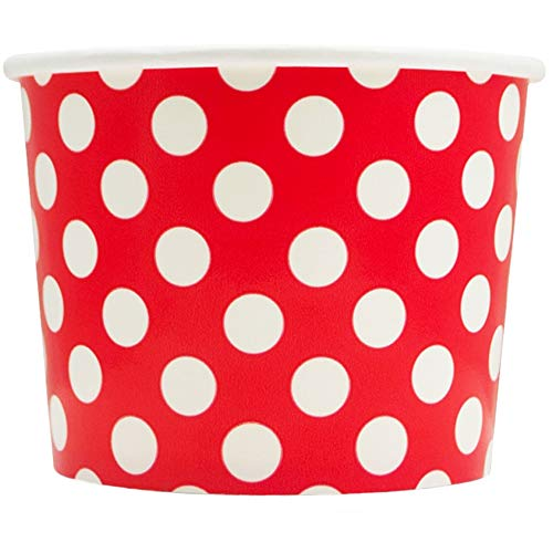 Red Paper Ice Cream Cups - 12 oz Polka Dotty Dessert Bowls - Perfect For Your Yummy Foods! Many Colors & Sizes - Frozen Dessert Supplies - Fast Shipping! 100 Count