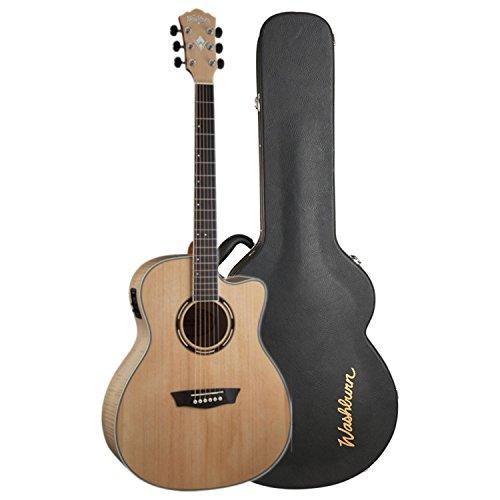 Washburn AG40CEK Nat. Grand Auditorium Spruce Top Flame Maple B/S Acoustic-Electric Guitar