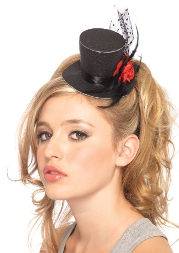 Leg Avenue Rose Clip-On Petite Glitter Top Hat with Polka Dot Mesh & Feather, One Size, (Mini Top Hat)
