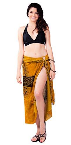 1 World Sarongs Damen Keltische Badeanzug Cover-Up Sarong Keltisches Kreuz 3 in Gold