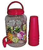 Decorative Summer Drink Dispenser with Spigot 1 gallon and 4 Cups (pink)