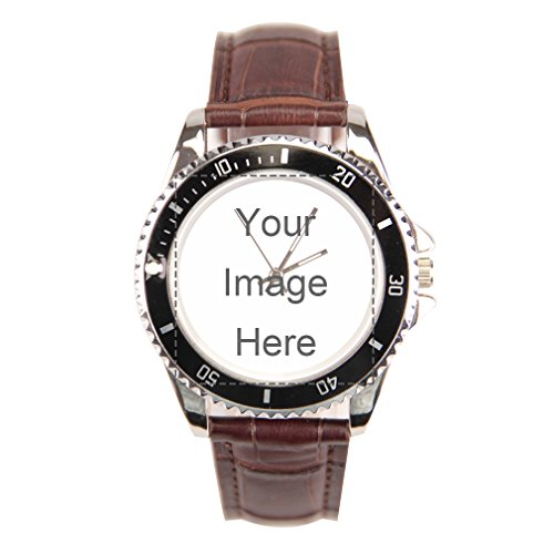 Custom Personalized Men's Brown Leather Band Wrist Watch With Photo or Message (Leather Band Round Photo Watch)