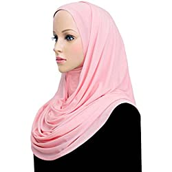 Khatib Jersey Cotton Hijab Wrap Head Scarf (Pink)