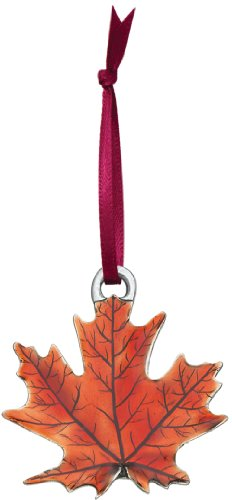 DANFORTH - Maple Leaf Pewter Ornament (Autumn) - Handcrafted - 1 3/4 Inch - Satin Ribbon