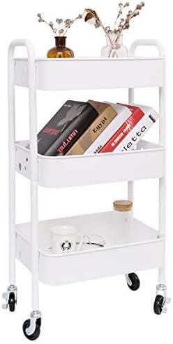 3-Tier Metal Rolling Utility Cart, Heavy Duty Storage Organizer Art Cart Craft Cart, White