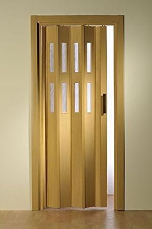 Puerta plegable doble Luci con 2 filas de ventanas, 175 x 202 cm, color roble claro: Amazon.es: Bricolaje y herramientas