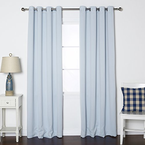 Best Home Fashion Thermal Insulated Blackout Curtains - Antique Bronze Grommet Top - Sky Blue - 52