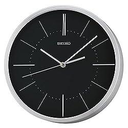 Seiko QXA715A Analogue Display Aluminium Wall Clock - Silver with Black Dial
