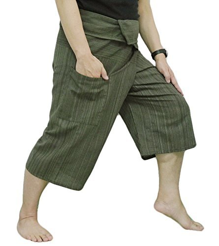 (Thai Fisherman Pants Yoga Trousers Free Size 3/4 Cotton Stripe-Olive Green)