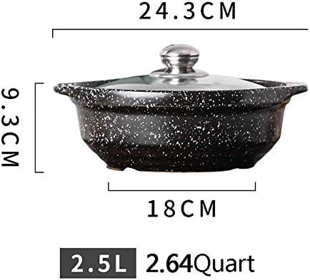 LEILEI Casserole antiadhésive,Pierre de Maifan résistante à la Chaleur en céramique avec Couvercle en Verre Pot Chaud à Soupe pour Cuisson Lente Bibimbap Noir 2.64Quart