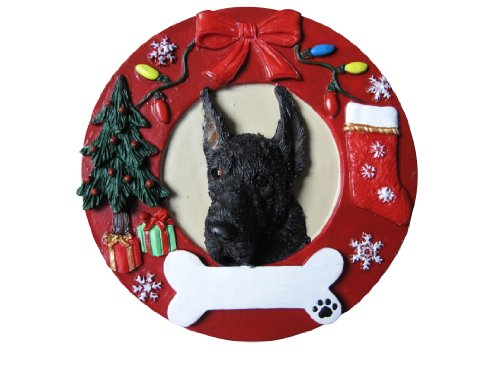 Great Dane Christmas Ornament Black Wreath Shaped Easily Personalized Holiday Decoration Unique Great Dane Lover Gifts