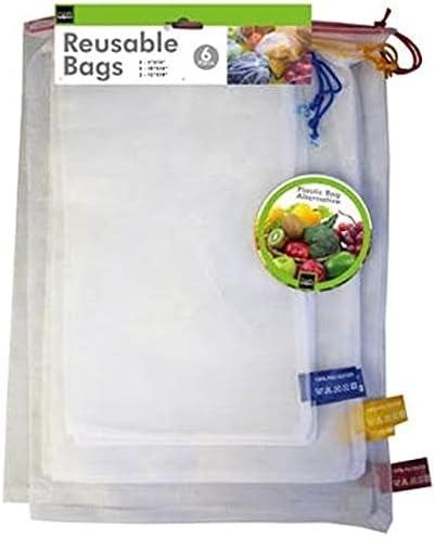 6 Piece Reusable Washable Mesh Produce Bags Set - Plastic Bag Alternative for Fruit and Vegetables