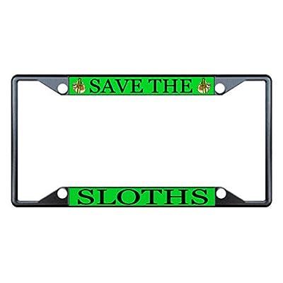 License Plate Covers Save The Sloths Animal Black License Plate Frame Tag Holder Four Holes - Bobbit