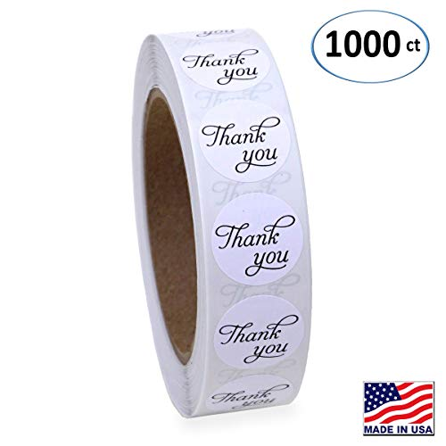 1 Inch Round Thank You Sticker Labels in Script/Calligraphy Print, 1000 Stickers per Roll ()