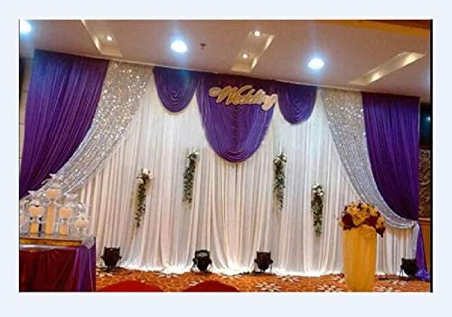 LB Wedding Stage Backdrop Celebration Decorations Backdrop Birthday Christmas Party Drapes with Swag Silk Fabric Curtain 3x6M, Purple