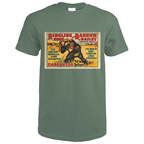 Ringling Bros and Barnum and Bailey - Gargantua The Great USA c. 1938 - Vintage Advertisment (Military Green T-Shirt - Brand Bailey Clothing
