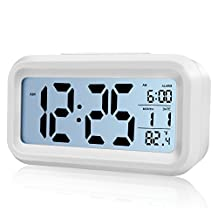 Alarm Clock,Vanzon Digital Easy to Set and Watch with Large LCD Screen Low Light Soft Night Light Repeating Snooze Month Date & Temperature Display (White)