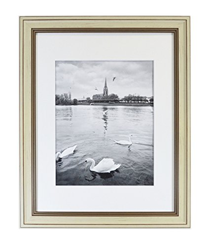 Golden State Art 11x14 Photo Frame with White Mat for 8x10 Photos & Real Glass, 1.25-Inch Wide, Cream Color with Brown ()