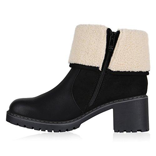 Stiefelparadies Damen Stiefeletten Cowboy Boots Profilsohle Gefütterte Stiefel Flandell Schwarz Zipper